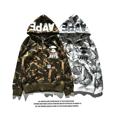 AAPE Fleece Hoodies Winter Camouflage Hats Alphabet Print Jacket [9753178191]