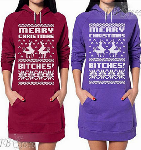 Hoodies Tops Hot Sale Christmas Print With Pocket Hats [9307413252]