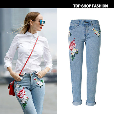 Denim Embroidery Pastoral Style Plus Size Pants [10734937295]
