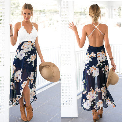 Chiffon V-neck Waist Belt Mosaic Patchwork Sexy Lace Backless One Piece Dress