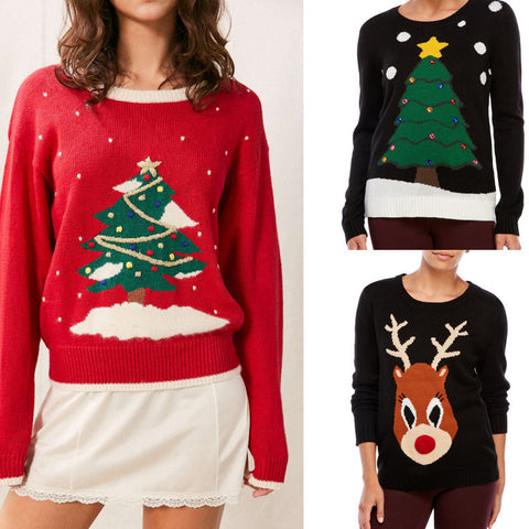 Women Fashion Winter Christmas Tree Elk Warm Sweater Top Thanksgiving Outerwear  [9582253839]
