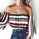 One Shoulder Sleeve Sexy Colorful Tops