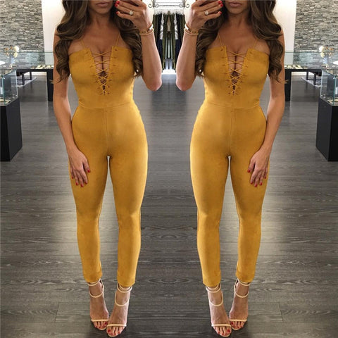 Yellow Fastens With Strapless Backless Jumpsuits