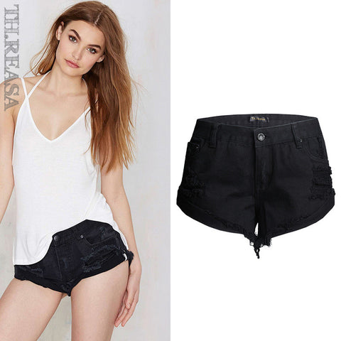 Denim Fashion Pants Ripped Holes Low Waist Shorts [11474122767]
