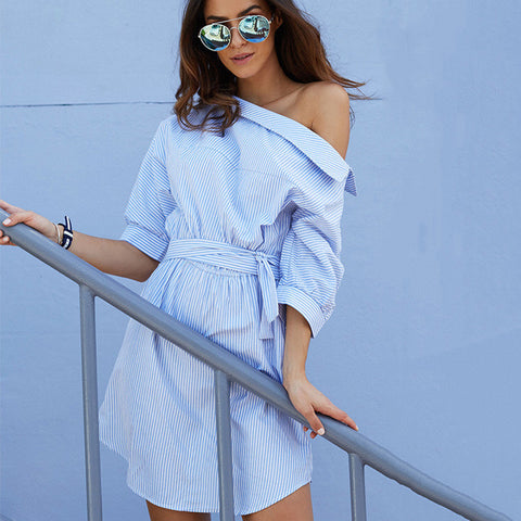 Summer Shaped Shirt Dress One Piece Dress [11604670543]
