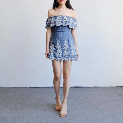 Slim Denim Zippers One Piece Dress [11727428495]