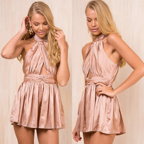 Casual Pants Ruffle Hollow Out Backless Club Shaped Romper [11604660943]