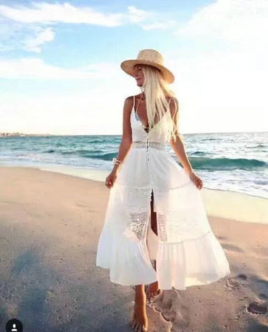 White Backless Hollow Out Lace Patchwork Spaghetti Strap Dress Sea Vacation Shaped One Piece Dress [11604657231]