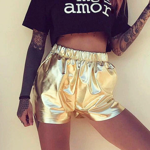 Casual Summer Hot Sale Metal Sexy Strong Character Stylish Mini Pants [11604650319]