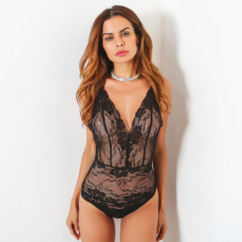 Hot Deal On Sale Cute Summer Women's Fashion Sexy Deep V Lace One-piece Exotic Lingerie [11604652367]