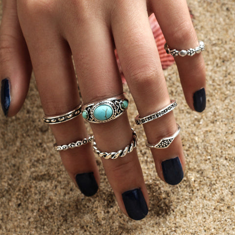 Turquoise Ring 7-pcs Pack Set [11762577039]