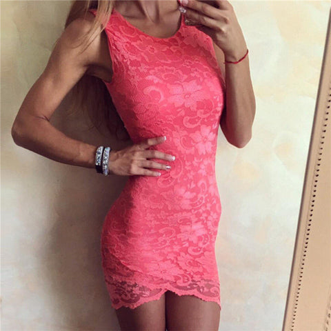 Lace Summer Hot Sale Round-neck Sleeveless Backless One Piece Dress [11727428303]