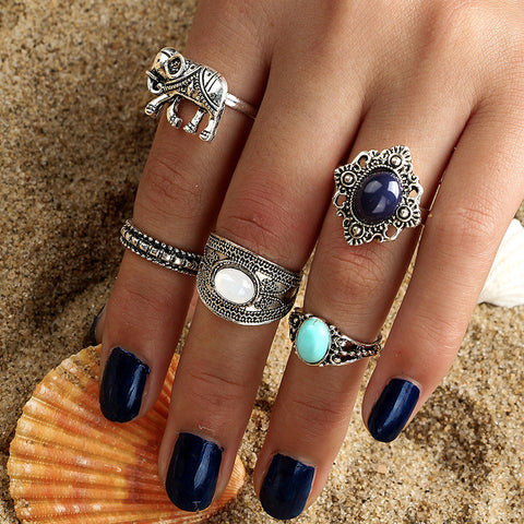 Gift Shiny Jewelry Stylish New Arrival Vintage Gypsy Gemstone Turquoise Hollow Out Ring [11762573455]