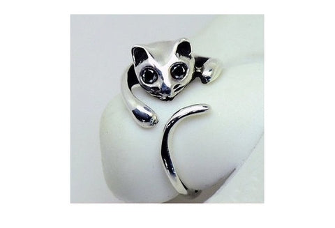 Cute Silver Cat Shaped Ring With Rhinestone Eyes, Adjustable and Resizeable [9324867908]
