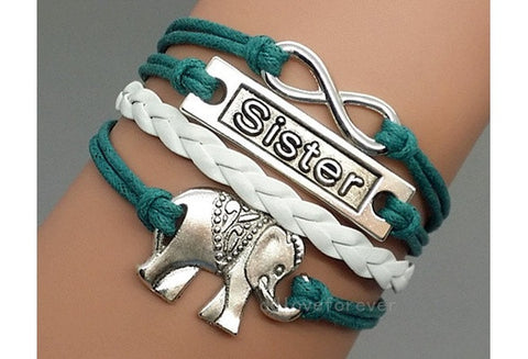 Elephant Sister Infinity Bracelet Antique Silver Leather Personalized Bridesmaid Gift Idea (Color: Multicolor) [9326005316]