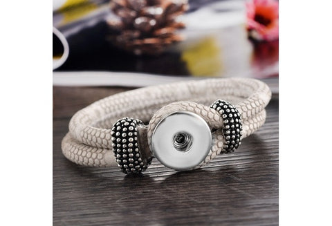 "PU Leather Bracelets Fit Snap Buttons Black 21cm(8 2/8"") long [9325957188]"