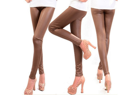 Fashion trousers Sexy Faux Leather Leggings  Black brown  PU Tights Pants  large size XXL [9324250180]