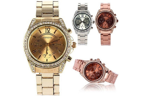 man's Bling Crystal Ladies Unisex Stainless Steel Quartz Wrist Watch [9325199172]