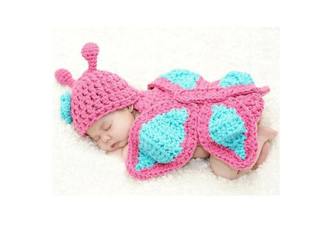New Born Baby Girl Clothes Romper Butterfly Knit Wool Photo Prop Outfits  H_T (Color: Multicolor) [9325378436]