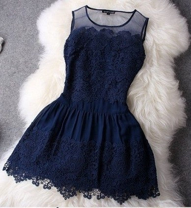 Crochet Sleeveless Ball Gown Mini Lace Navy Blue Cocktail Dresses Causal Party Gowns Pretty Short Graduation Prom Dress 2015 Cheap White Dress = 4806548228