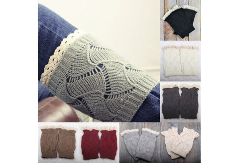 Lady Hollow Crochet Knitted Lace Trim Boot Cuffs Toppers Liner Leg Warmer Cloth [9325960516]