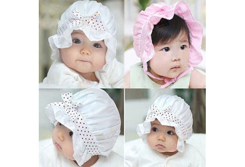 1pc Newborn Baby Girl Boy Summer Sun Polka Dot Cute Lace Bow-knot Beanie Hat Cap [9325379652]