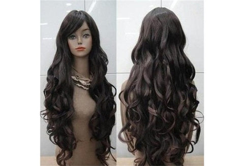 Hot Sale Pretty Long Dark Brown Curly Women Cosplay Hair Full Wigs (Color: Dark brown) [9325733956]