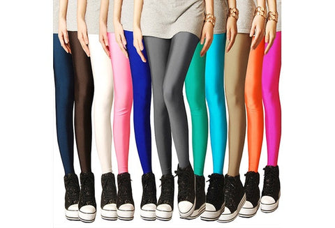 Fashion Women Neon Candy Shiny Bright Fluorescent Glow Stretch Leggings Pants [9325206020]