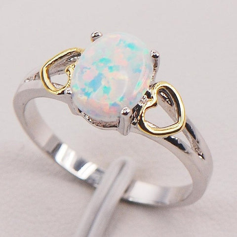 White Fire Opal 925 Sterling Silver Plated Fashion Jewelry Ring Size 6 7 8 9 10 11 [6259585284]