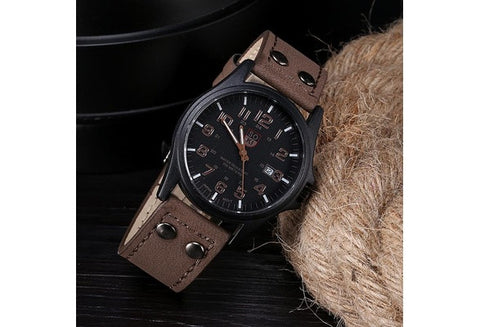 Vintage Classic Men's Waterproof Date Leather Strap Sport Quartz Army Watch [9325385732]