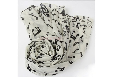 New Fashion Shawl Wrap Korean Style Women Scarf Music Note Printed Lady Chiffon Silk Scarf SV011276|27701 Apparel & Accessories [9326004420]