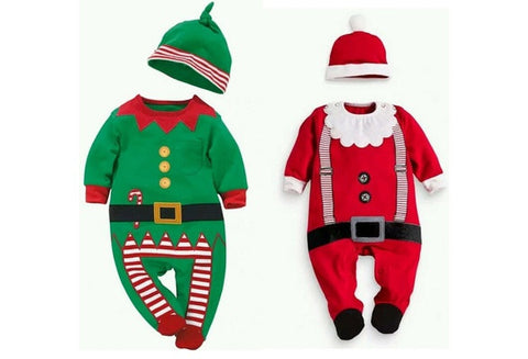 Baby Christmas Clothes Outfits Boy Girl Kids Romper Hat Cap Set Gift 0-24Months [9325393220]