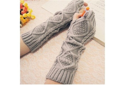 Women Knitting Wool Long Gloves [9326008644]