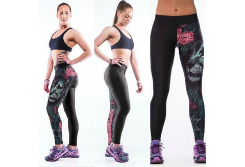 Vintage Ghost Beauty 3D Print Women Ladys Gym Fitted Pants Running Pants Slim Sports Leggings [9325218820]