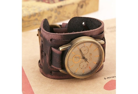 Hot Sale/New Arrival: Traditional Vintage/Fashion/Punk/Retro Classical Shape Handmade Leather Bracelet Watch/Wristwatch Nice Gifts, Souvenirs, Decoration [9325384388]