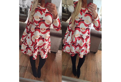 New Fashion Women's Casual Dresses Long Sleeved Print Santa Claus Christmas Blouse Mini Dress [9325856452]