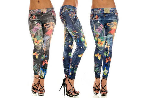 Women New Jeans Leggings Pants Tattoo Pattern Sexy Jeans Chic Sport Punk Pants [9325214532]