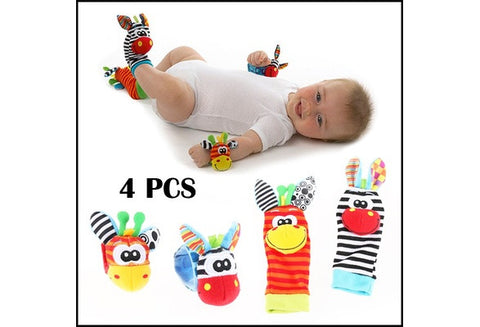 Infant Baby Kids Cute Animal Hand Wrist Bells Foot Sock Rattles Soft Toys Finder [9325397124]