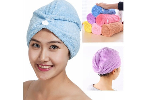 Soft Coral Fleece Hair Dry Towel Wrap Hat with Button 3 Colors [9325734468]