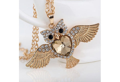 Womens Fashion Owl Crystal Rhinestone Pendant Necklace Sweater Chain Jewelry [9325960004]