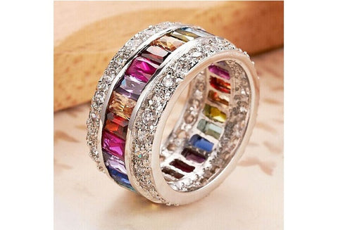 Size 6 7 8 9 10 10.7CT Woman Multicolor Gemstone Delicate Princess Bride S925 Sterling Silver Wedding Engagement Ring [9325208772]