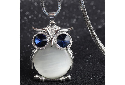 Womens Cute Crystal Owl Pendant Sweater Long Chain Necklaces [9325211460]