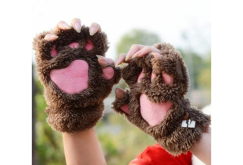 Lovely fingerless gloves Thickening fluffy bear's-paw gloves lovers gift Hot Sale [9326004036]