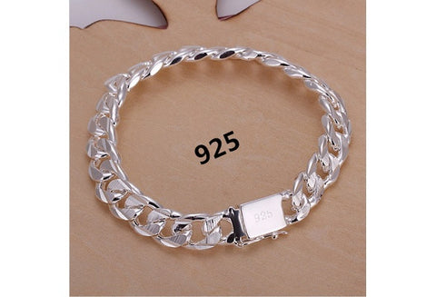 925 Sterling Silver Bracelets Fashion Jewelry Gifts Men's 10MM Square Buckle Sideways Bracelets (Color: Silver) [9324871108]