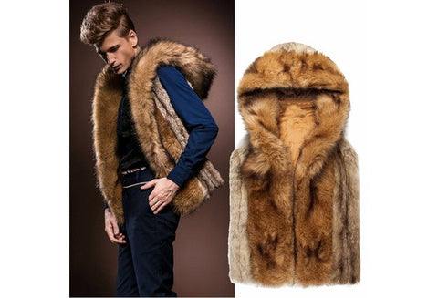 Men Fashion Fur Hoodie Vest Parka Coat Sleeveless Warm Winter Hooded Jacket S-XL [9714856015]