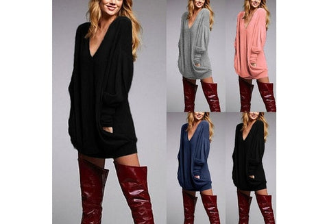 Sexy Women V-neck Knitted Tops Casual Long Sleeve Pocket Loose Blouse Mini Dress S-XXXL(Blue,Pink,Gray,Black,Beige) [9714860559]