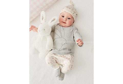Cute Bunny Newborn Baby Boy Girl Bodysuit Hat Romper T-shirt Pants Outfits Sets [9325374020]