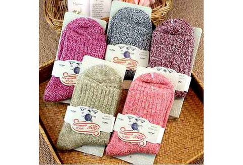 5 Pairs Women Wool Cashmere Thick Warm Soft Solid Casual Sports Socks Winter [9325225476]