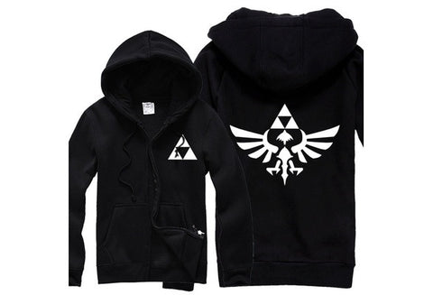 Legend of Zelda Triforce Symbol Unisex Full Zipper Cotton Hoodie [9325864452]