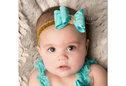 Newborn Luxe Hair Bows Matching Glitter Headband Handmade Hard Bow Headbands For Baby Girls Hair Accessories 8colors to choose [9325377348]